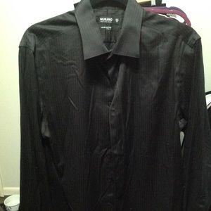 Murano Liquid Cotton XLA Black Button Up